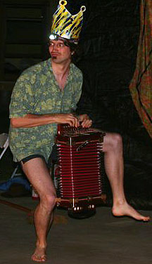 Yann Falquet is slowly adjusting to life in the modern world.  Pictured here, he appears to be holding an accordion for the first time.